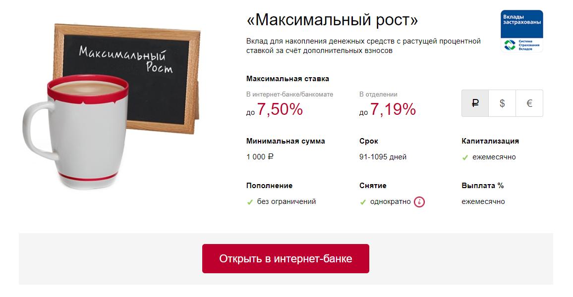 ВТБ Банк Москвы вклад максимальный рост