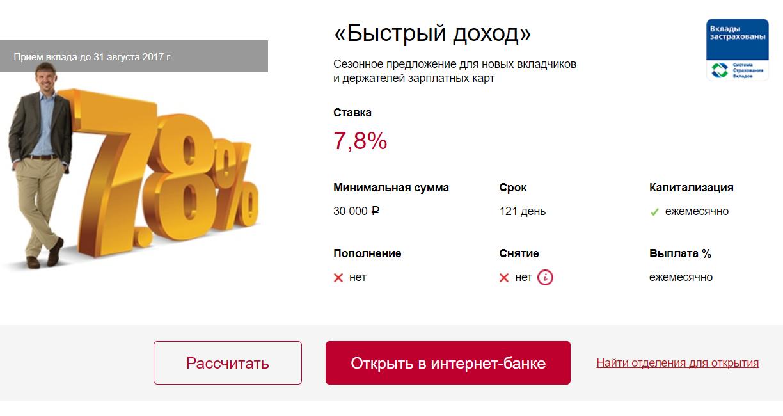 ВТБ Банк Москвы вклад быстрый доход