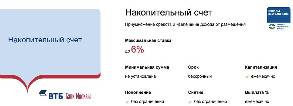 ВТБ Банк Москвы вклад накопительный счет