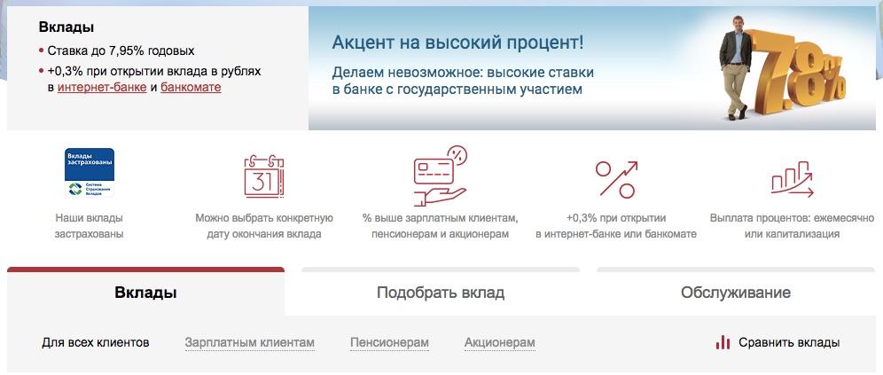 ВТБ Банк Москвы вклады физических лиц 2017