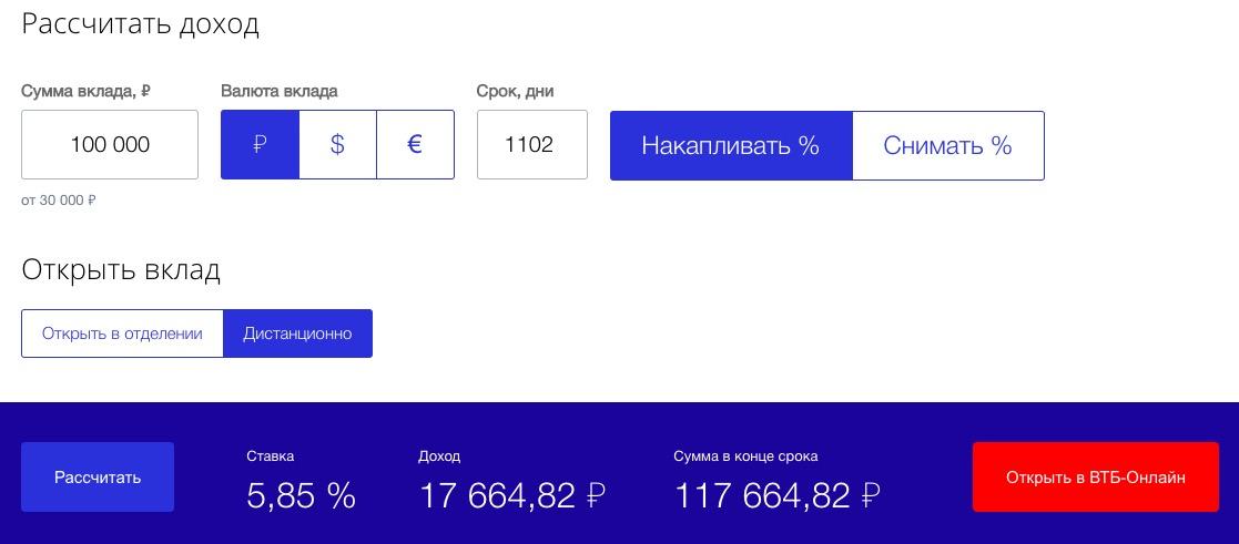 Вклад выгодный ВТБ калькулятор